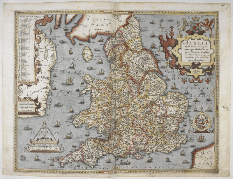 Scanned map of the counties of England, 1579: Royal MS 18 D III, f. 6r.  British Library.