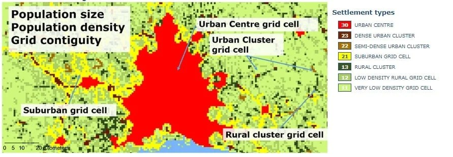 Settlement types are classified in 1 km2 grid cells based on population density, contiguity and population size. Credit: JRC