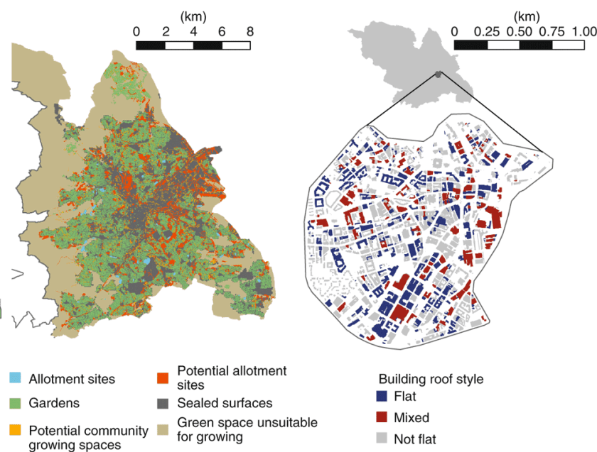 Maps showing (left) Current land available and green infrastructure suitable for urban gardening.  (Right) Grey infrastructure with flat roofs potentially suitable for urban farming within the city center. Source: Edmondson et al., 2020