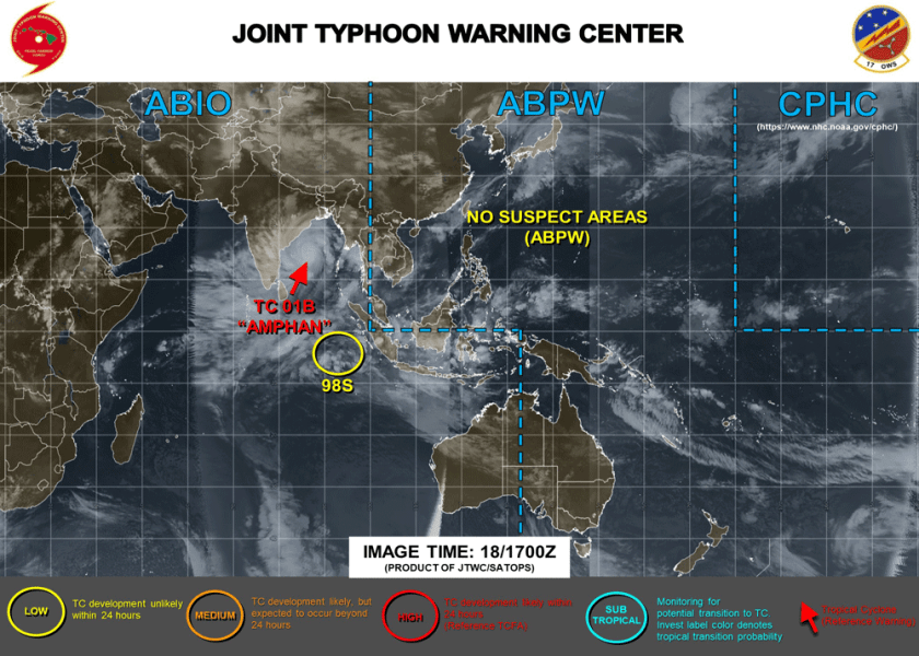 Satellite imagery from the Joint Typhoon Warning Center (JTWC) showing the location of Amphan.