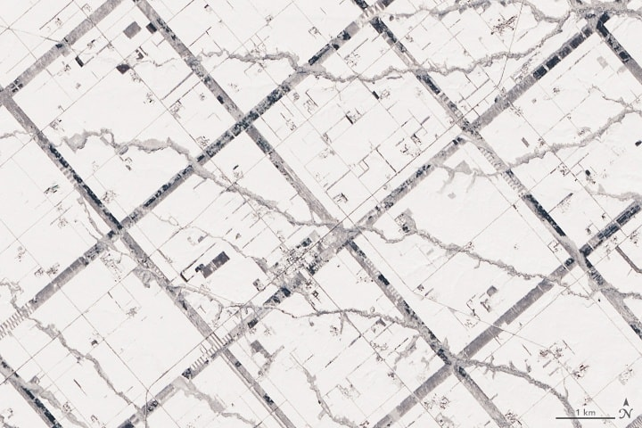 Hokkaido's forested windbreaks are visible in the snow-covered landscape. Image: NASA.