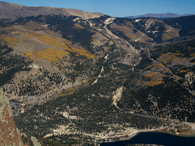 Slumgullion landslide.  Photo: William Schulz, USGS, public domain.