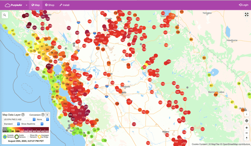 PurpleAir provides crowdsourced air quality measurements.
