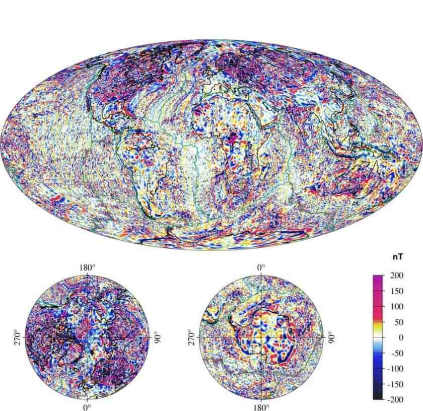 The crustal field, shown here, is weaker than the core field, but is fixed and has features that are useful in non-GPS navigation. The intensity of the fields are measured in nano teslas (nT), shown increasing in strength from blue to red. (Graphic courtesy of NOAA)