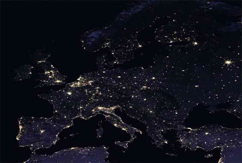 Composite image of Europe at night, 2016. Credits: NASA Earth Observatory images by Joshua Stevens, using Suomi NPP VIIRS data from Miguel Román, NASA's Goddard Space Flight Center