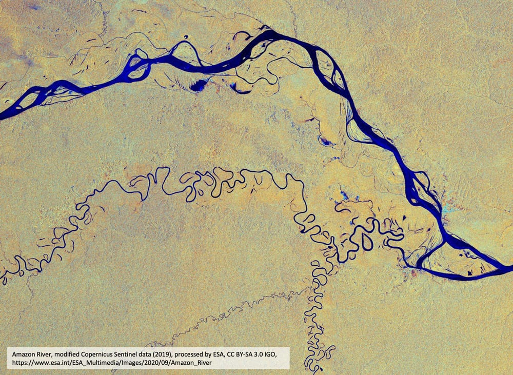 Amazon River, modified Copernicus Sentinel data (2019), processed by ESA, CC BY-SA 3.0 IGO,https://www.esa.int/ESA_Multimedia/Images/2020/09/Amazon_River