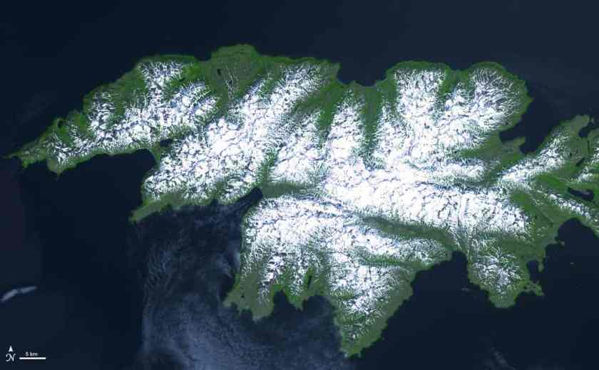 Attu Island, Alaska, July 4, 2000.  Source: NASA Terra Satellite, public domain.