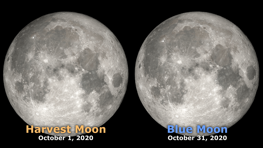 October 2020 will see two full moons. Image: NASA, public domain.