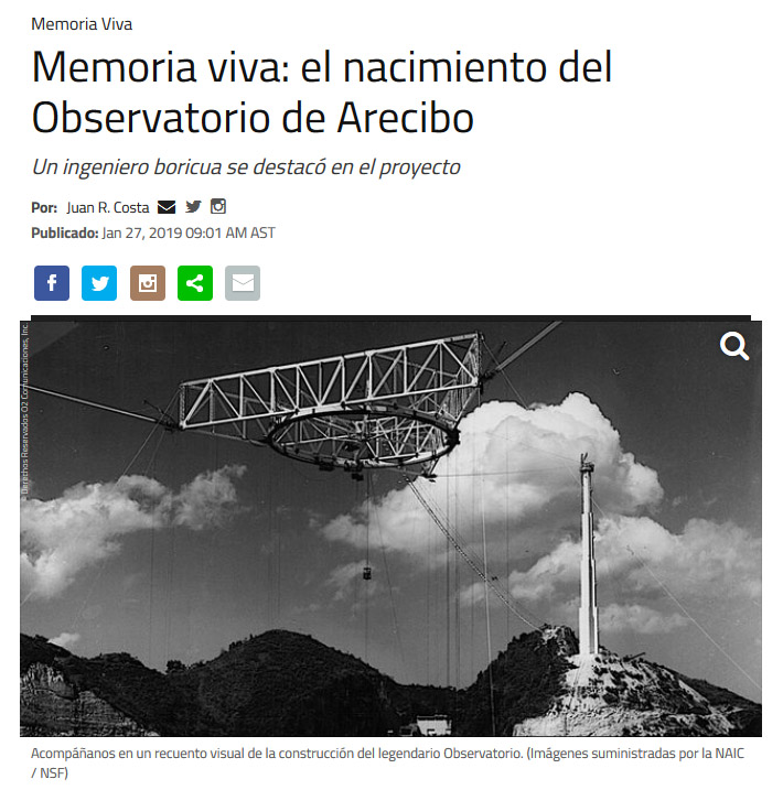 NotiCel - Memoria viva: el nacimiento del Observatorio de Arecibo