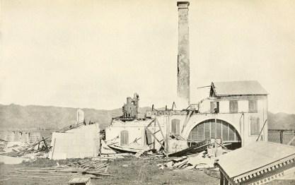 Ruins of sugar mill destoyed by hurricane of August 8, 1899. Añasco.