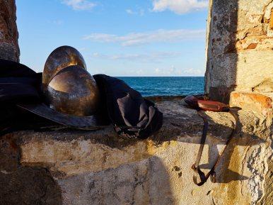 Morrión o casco típico que usaban los soldados españoles en el siglo XVII.