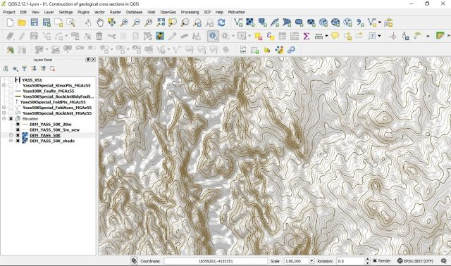 Construction of geological cross sections in QGIS | Geokincern
