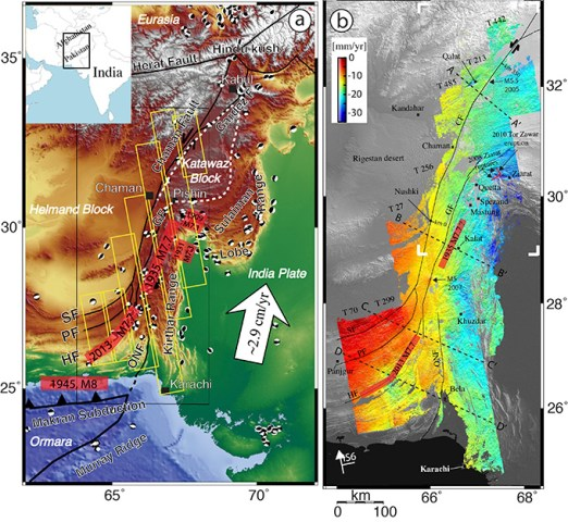 Figure 1: a) Western India plate boundary zone, includes the Chaman fault and Kabul and b) ground velocity field of the Ghazaband fault and Quetta obtained from SAR imagery of the Envisat satellite.