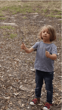 Child dowsing age of tree