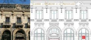 Plan de la façade de la Caisse d'Epargne à Toulouse