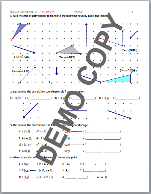 Geometry Transformation Composition Worksheet Answer Key