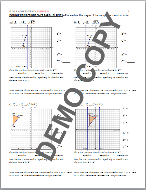 Common Core Geometry Transformations Worksheets