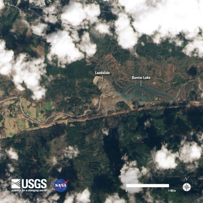 The Oso, Washington slide area Landsat 8 image acquired on March 23, 2014.