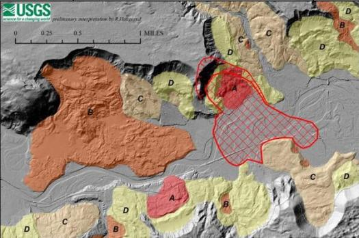 Colored areas show older landslide deposits, distinguished by their relative age: A, youngest to D, oldest. The red cross-hatched area marks the approximate extent of deposits from the March 22, 2014, landslide (from USGS Open-file report 2014=1065).