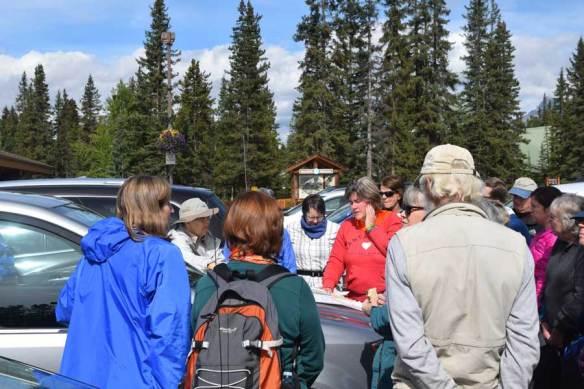 Discussion time near Laggan's Mountain Bakery , Lake Louise.