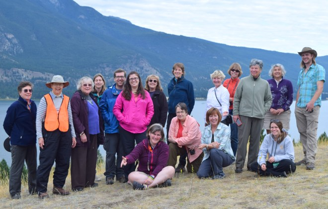 Our field trip group poses by Columbia Lake, which forms the headwaters for both the Columbia and Kootenay rivers, and lies within the enigmatic Rocky Mountain Trench near Canal Flats, British Columbia.