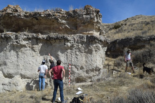 Calcic paleosol stacks in the central part of the Madison Bluffs, southwest Montana.