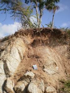 """Granitic rock exposed on the locally known """"Coconut Beach"""" near Esperanza."""