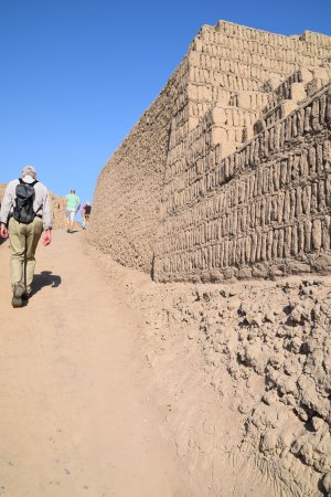 Sand and gravel fill exposed beneath overlying adobe pyramid tier at Huaca Pucllana.