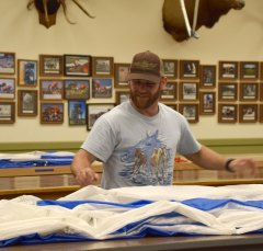 The parachute folding room. It takes experienced folders from 45 minutes to an hour to fold a chute.
