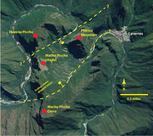 The Macchu Picchu citadel ruins sits within a graben (base image from Google Earth, extracted 6/13/2016).