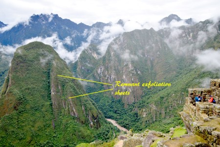 Remnant exfoliation sheets on Piticusi Mountain which sits east of Machu Picchu, by Aguas Calientes.