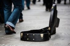 Guitar case on ground