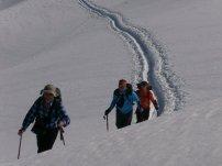 Klaus, Hias und Tim beim Aufstieg