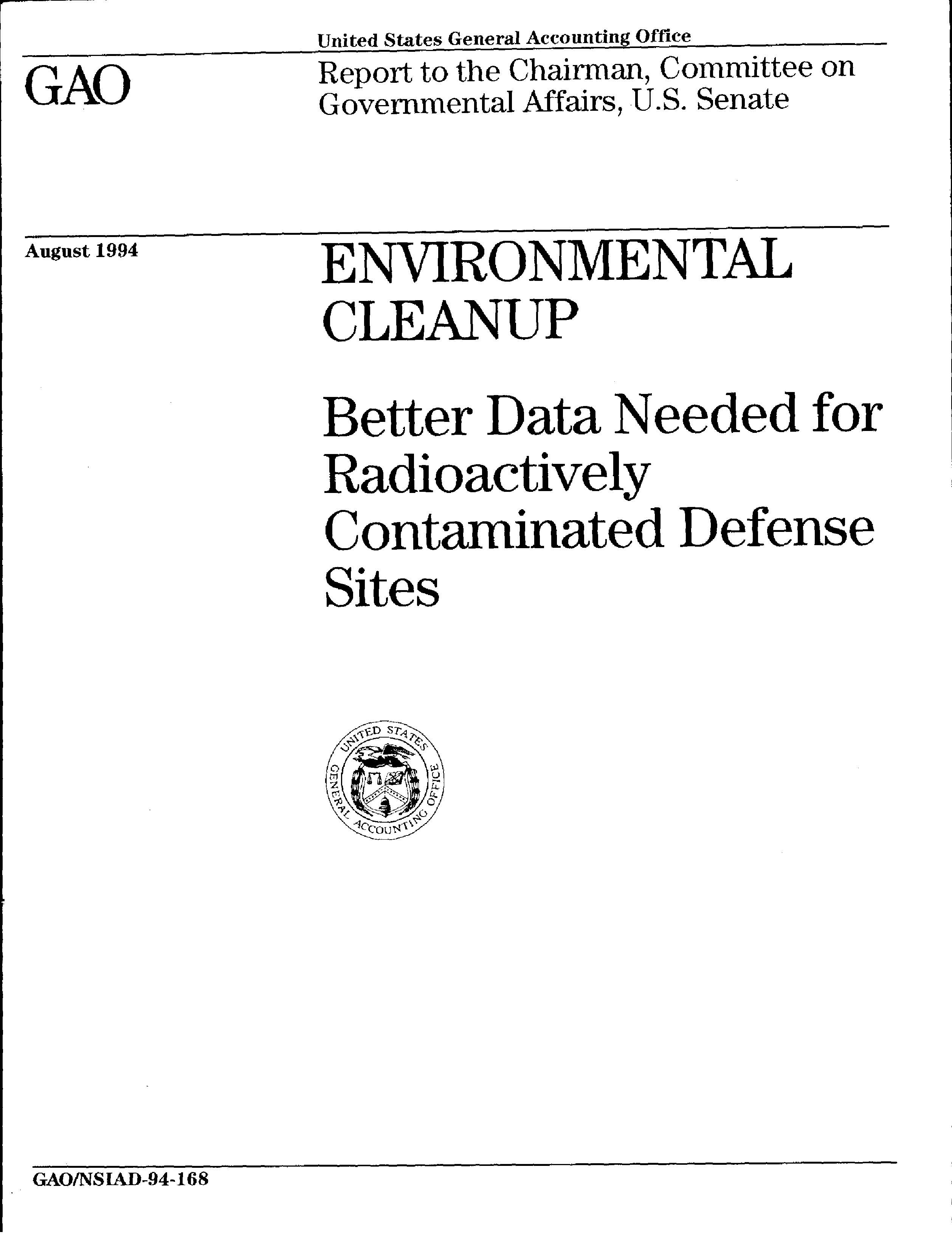 Better Data Needed for Radioactively Contaminated Defense Sites