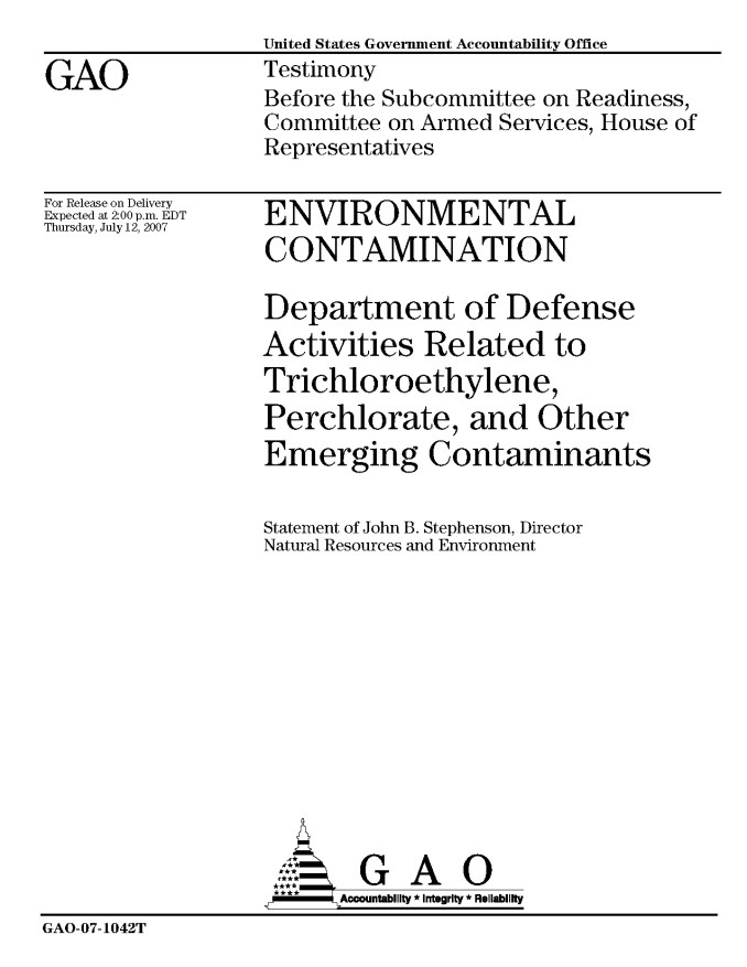 Department of Defense Activities Related to Trichloroethylene, Perchlorate, and Other Emerging Contaminants