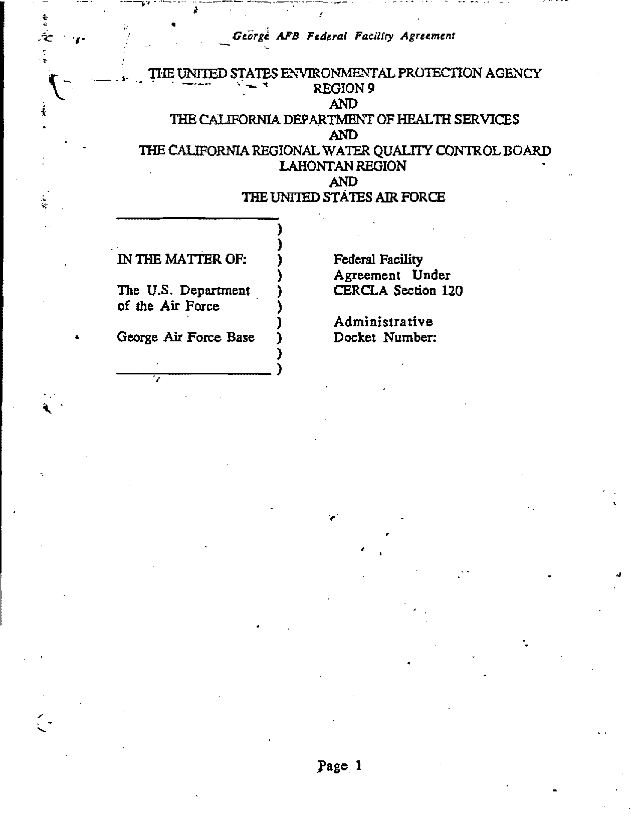 1990 10 21 George Air Force Base Federal Facility Agreement