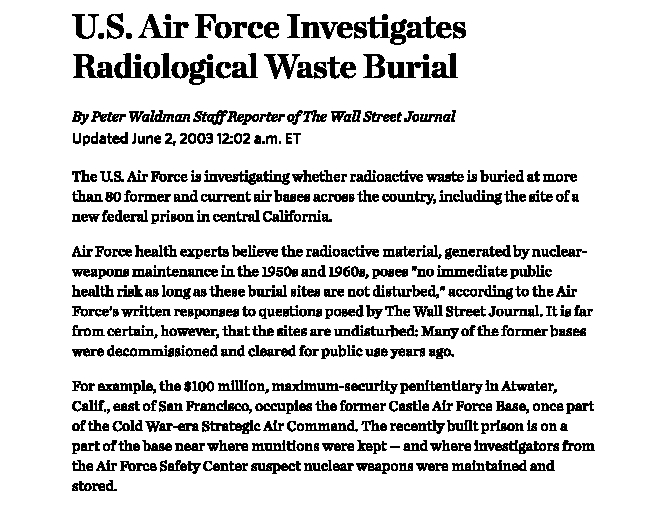 U.S. Air Force Investigates Radiological Waste Burial