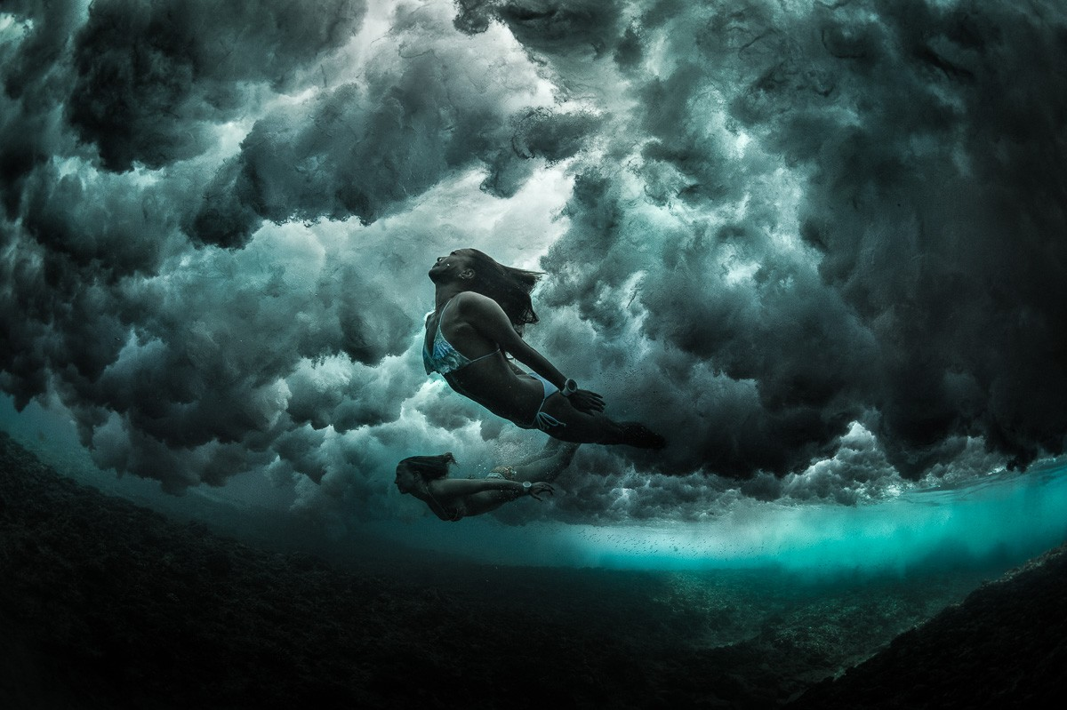 Surfer Girl Wallpaper Mermaids Diving Under The Waves George Karbus Photography