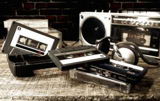 old cassettes and radio throwback