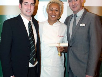 George Payne Butchers' Shop Manager Alex Daley, Right, And The Shop's Jack Levinson Are Pictured At The Smithfield Awards Ceremony With Monica Galetti.