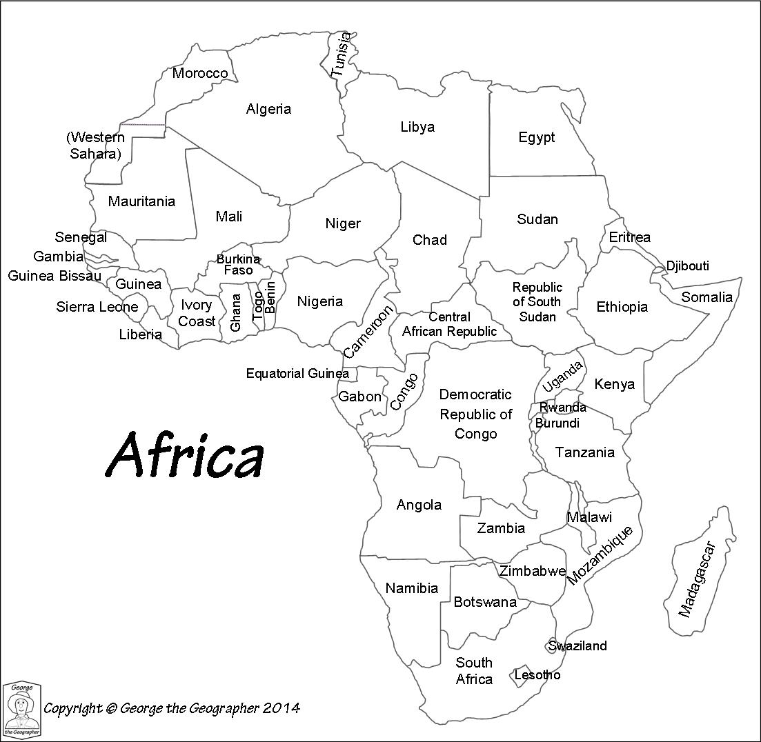 Outline Map Of Africa With Country Names World Map Coloring Page