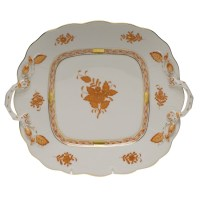 """HEREND """"CHINESE BOUQUET"""" SQUARE CAKE PLATE WITH HANDLES"""