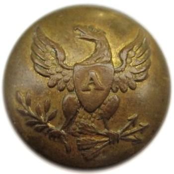 1820-1840's U.S. Artillery 20mm Gilt Brass Orig Shank Alberts AY 71- Tices AY206A.17 PD $50 10-10-12