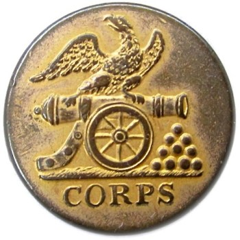 1828-34 Federal Artillery Militia Brass 22mm. AY57-B rj silverstein's georgewashingtoninauguralbuttons.com o