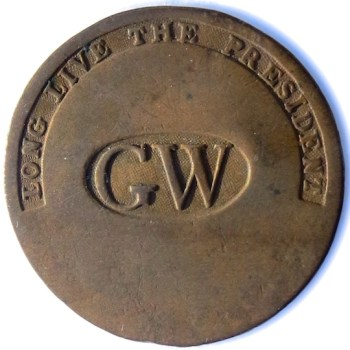 GWI 11-A GW IN OVAL CENTER COPPER 34.15mm ORIG. SHANK BETSY ROSS-CLAYPOOL RJ SILVERSTEIN'S GEORGEWASHINGTONINAUGURALBUTTONS.COM O1