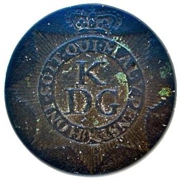 1775-1782 Revolutionary War British King's Dragoon Gaurd Button 26MM georgewashingtoninauguralbuttons.com