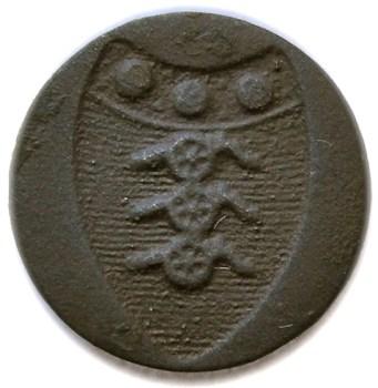 1783 British Artillery Button 17mm rj silversteins georgewashingtoninauguralbuttons.com R