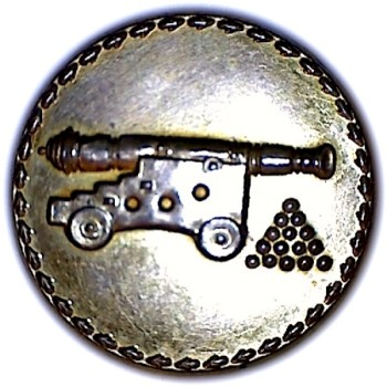 1790's British General Artillery 25mm Gilt Repousee sheet Copper bone back RJ Silversteins georgewashingtoninauguralbuttons.com O