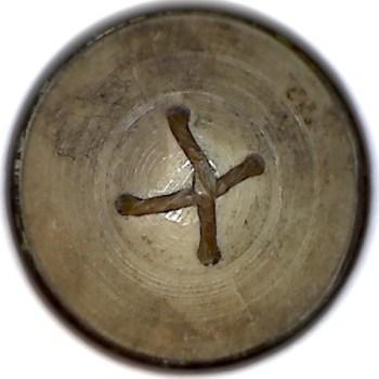 1790's British General Artillery 25mm Gilt Repousee sheet Copper bone back RJ Silversteins georgewashingtoninauguralbuttons.com R