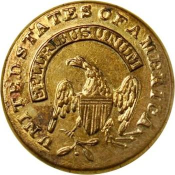 1820's Federal Infantry Button 13.8mm similar to alberts UU132-A $78. RJ Silverstein's Georgewashingtoninauguralbuttons.com O